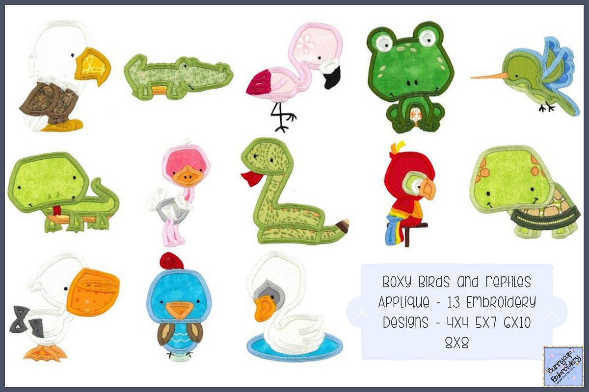 Boxy Birds And Reptiles Applique - 13 Embroidery Designs example image 1