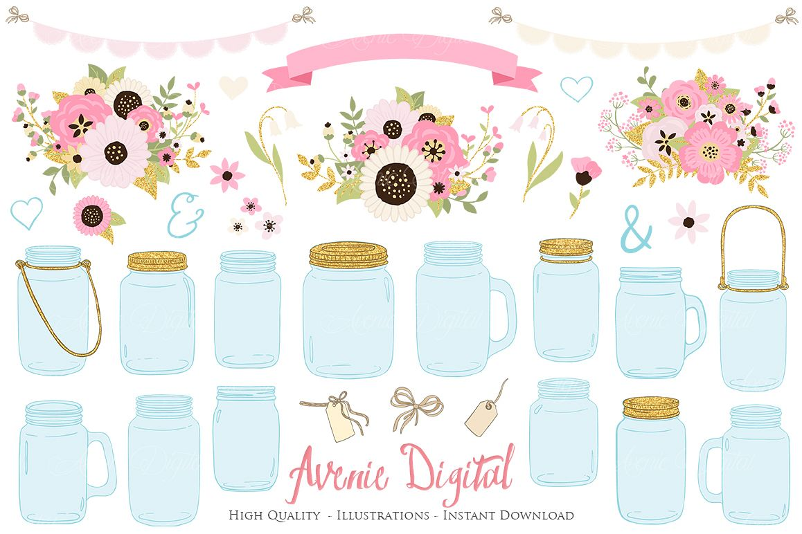 Pink and Gold Mason Jar Floral Wedding Clipart example image 1