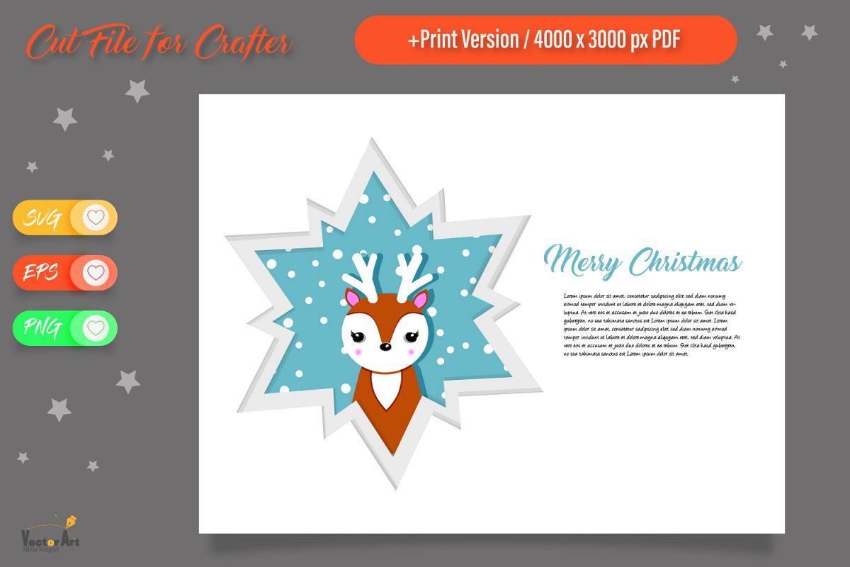 Christmas Star Paper Cut - Deer example image 1