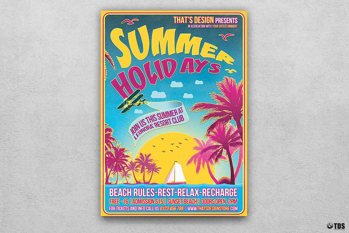 Summer Holidays Flyer Template V2 example image 1