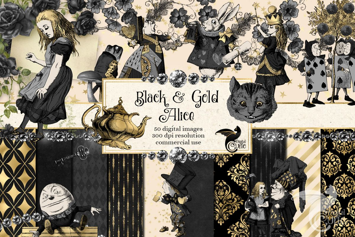 Black and Gold Alice in Wonderland Graphics example image 1