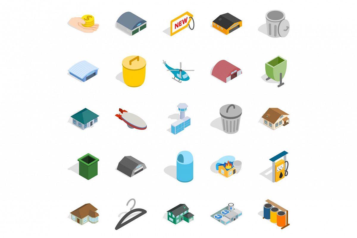 City infrastructure icons set, isometric style example image 1