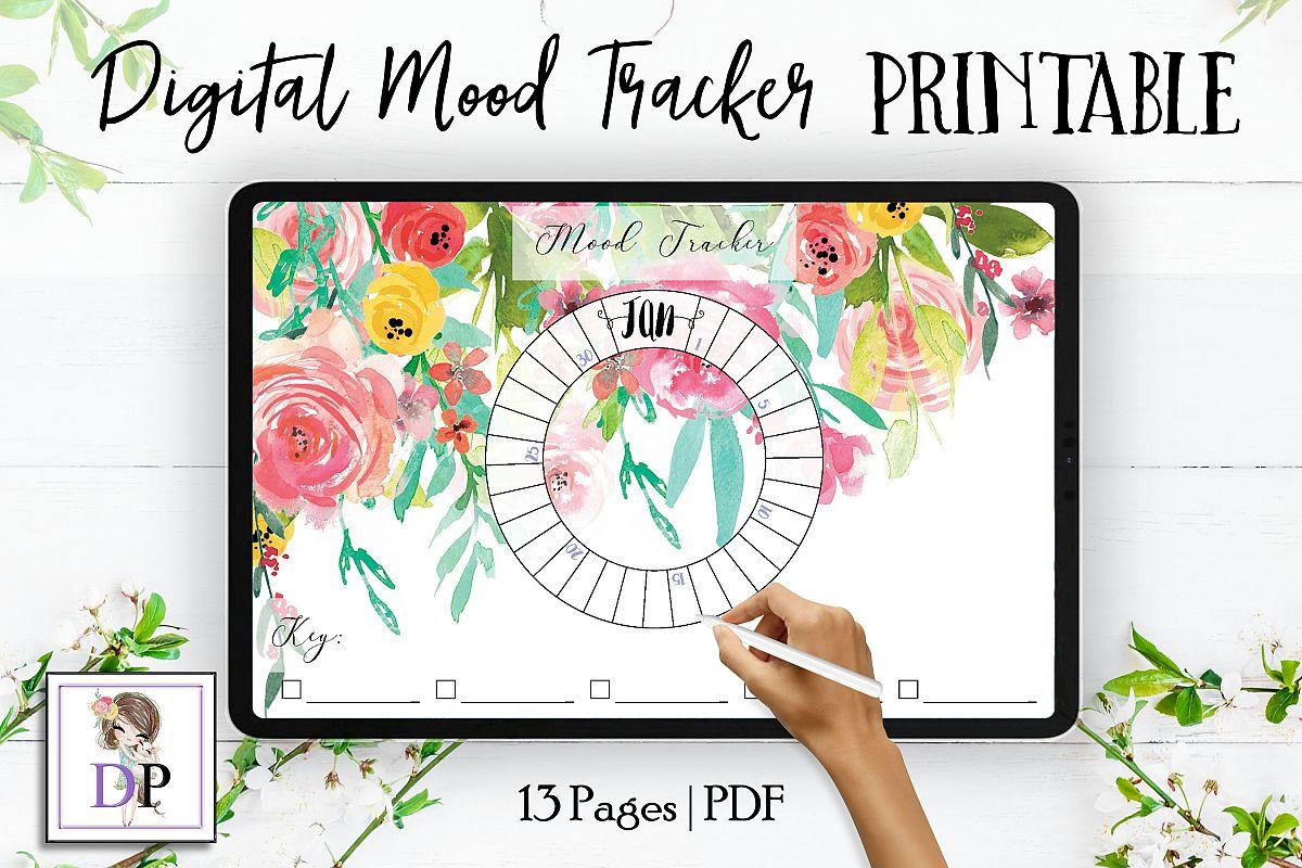Digital Mood Tracker for Planner PRINTABLE mts4 Watercolor