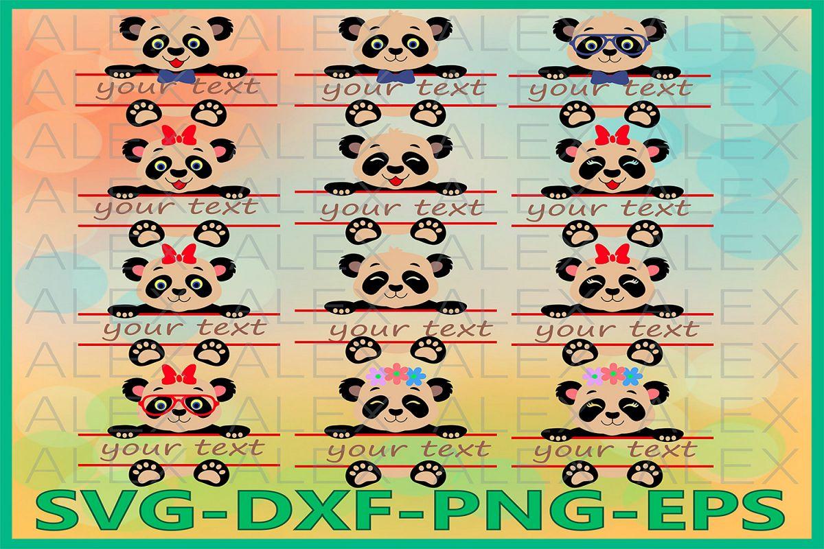 Panda Split monogram Svg, Girls Panda svg, Panda with a bow example image 1