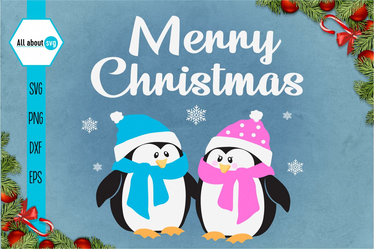 Merry Christmas Penguins Svg example image 1