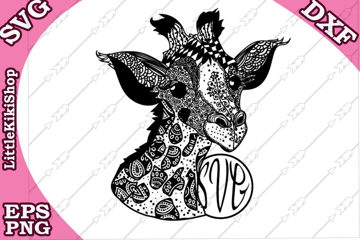 Baby Giraffe Svg, Mandala Giraffe Svg,Monogram Giraffe Svg example image 1