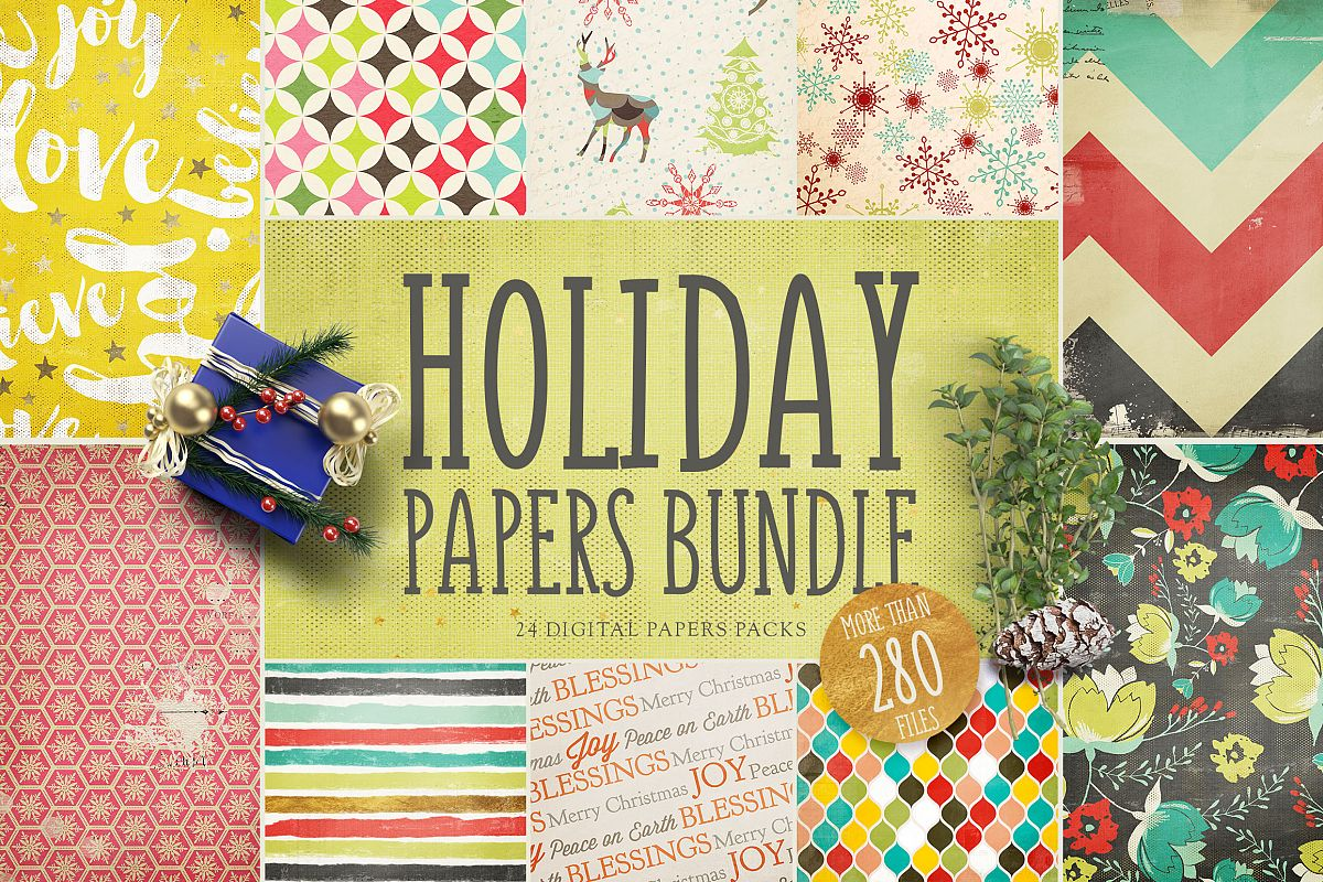 Holiday Digital Papers Bundle example image 1