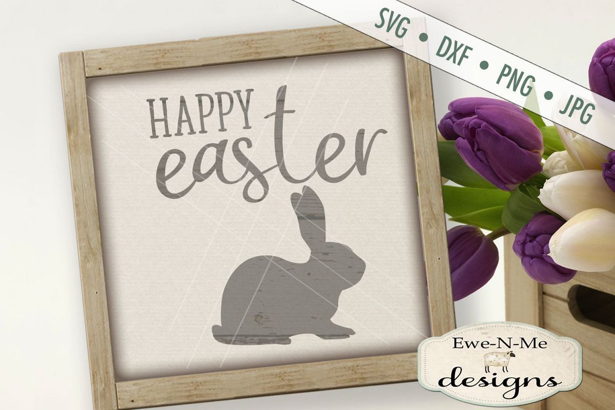Happy Easter Bunny Easter Rabbit SVG DXF Cut File example image 1