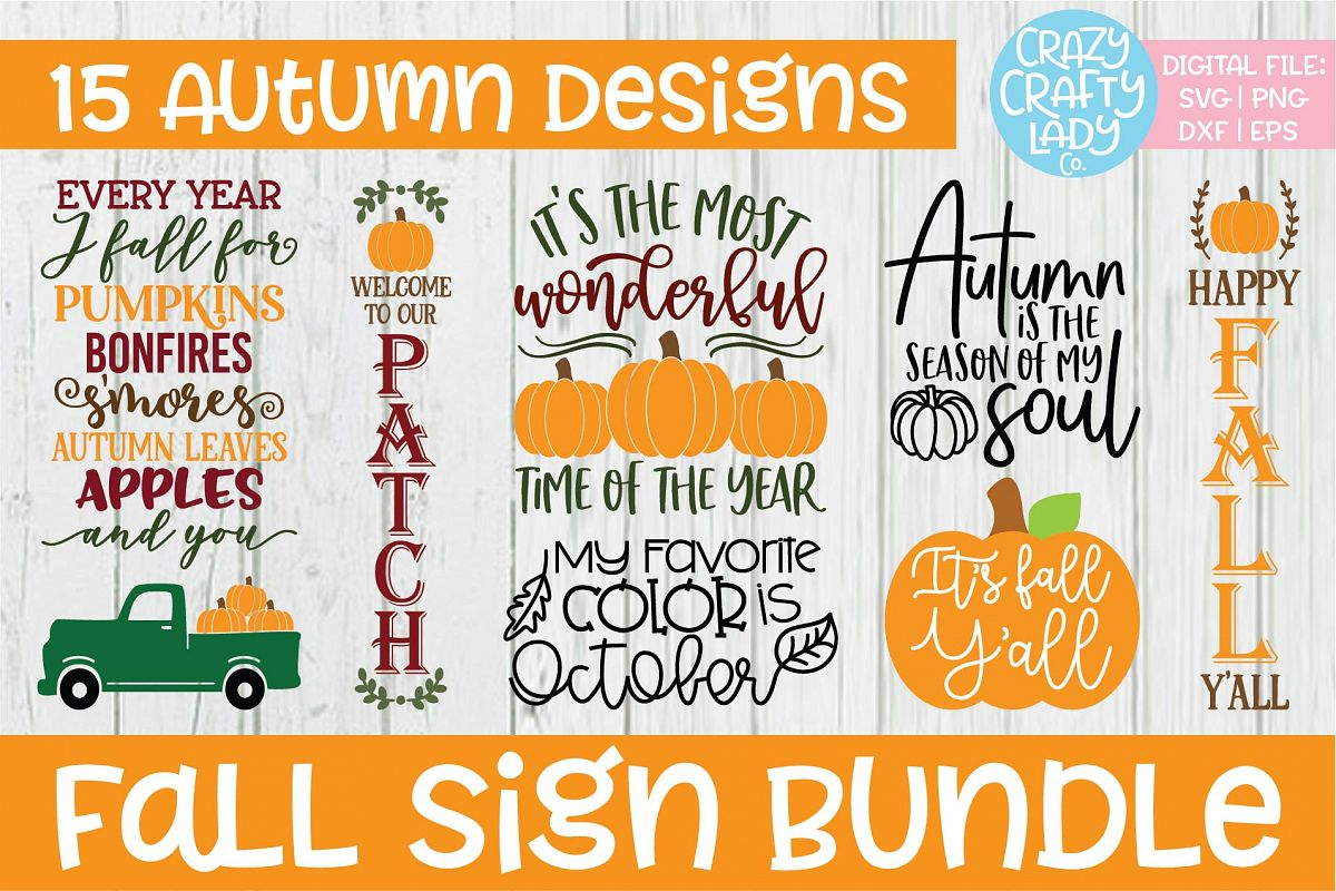 Fall Sign SVG DXF EPS PNG Cut File Bundle example image 1