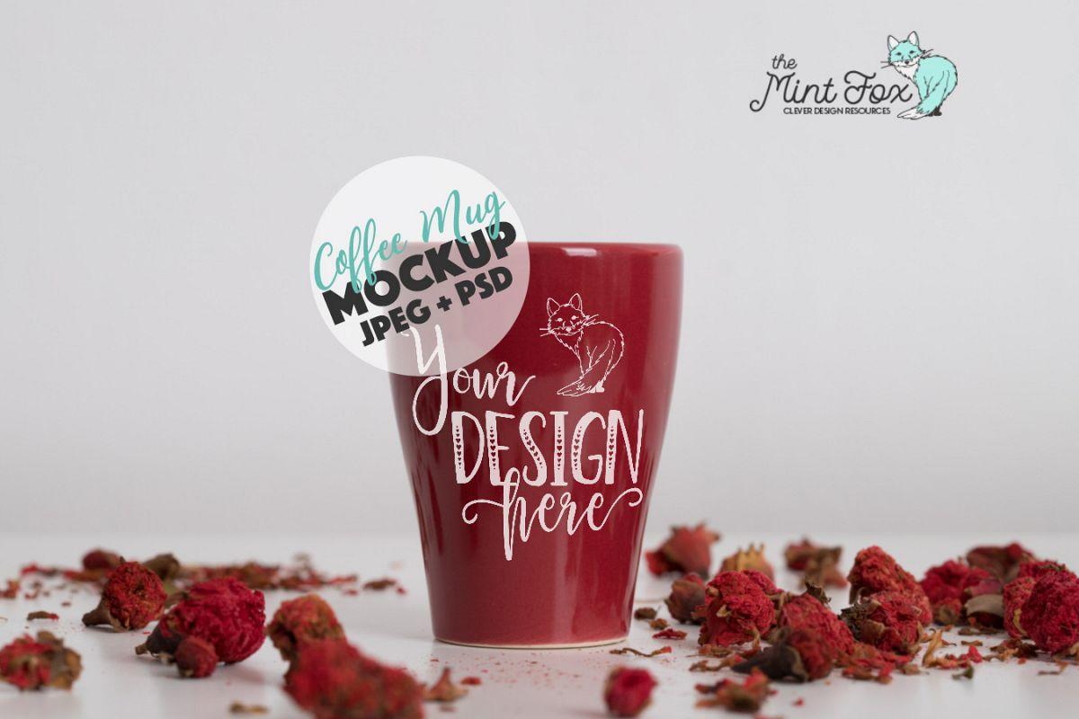 Coffee Cup Mockup | PSD & JPG Coffee Mug with Flowers example image 1