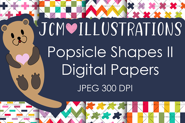 Popsicle Shapes II - Digital Papers - Digital Scrapbooking example image 1