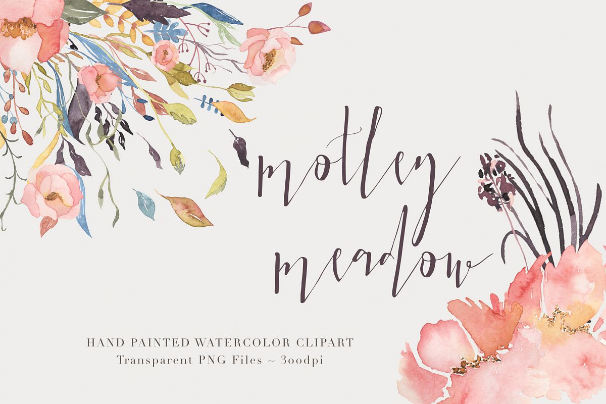 Watercolor Floral Clipart - Motley example image 1