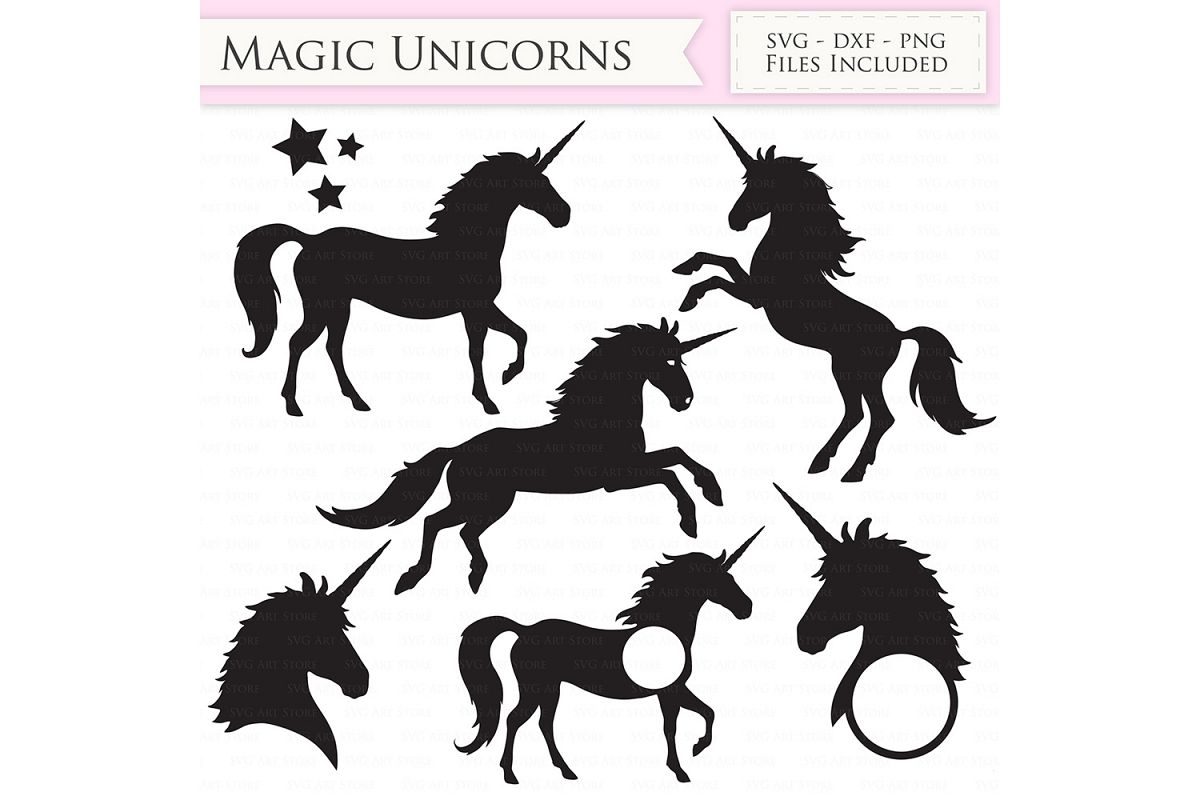 Magic Unicorns SVG Files - Jumping Unicorns, Unicorn head monogram cut  files for Cricut and Silhouette - SVG, dxf, png, jpg files Included