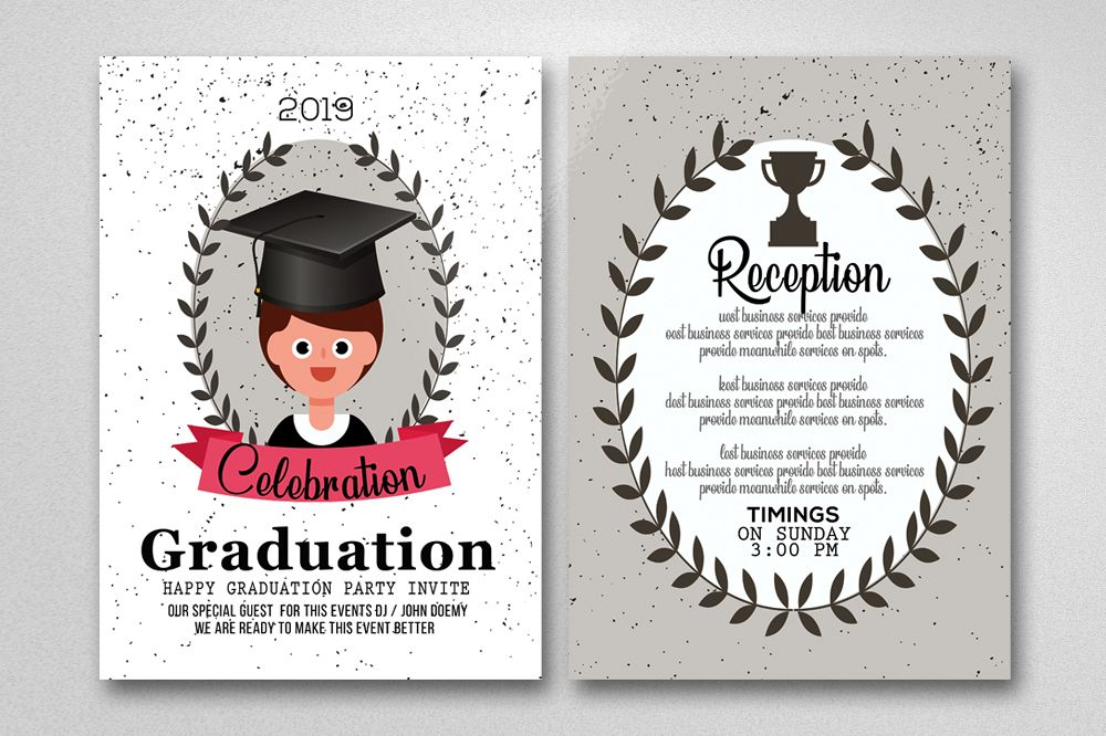 Two Sided Graduation Party Invitation Card