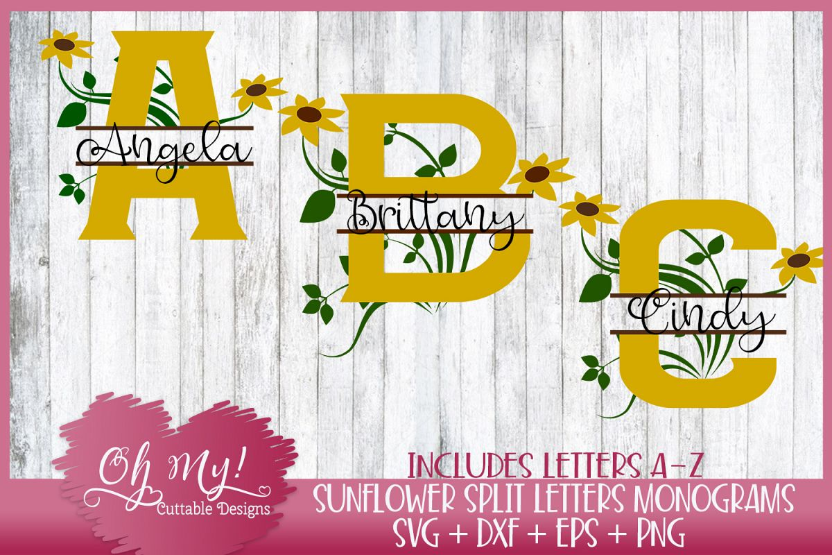 Split Sunflower Letters A - Z - Monograms - 26 Designs