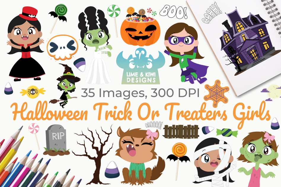 Halloween Trick Or Treaters Girls Clipart, Instant Download example image 1