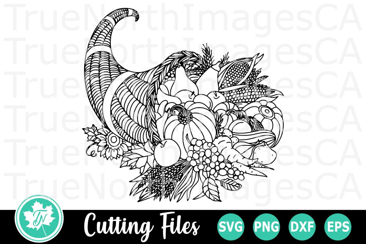 Zentangle Cornucopia - An Zentangle SVG Cut File example image 1