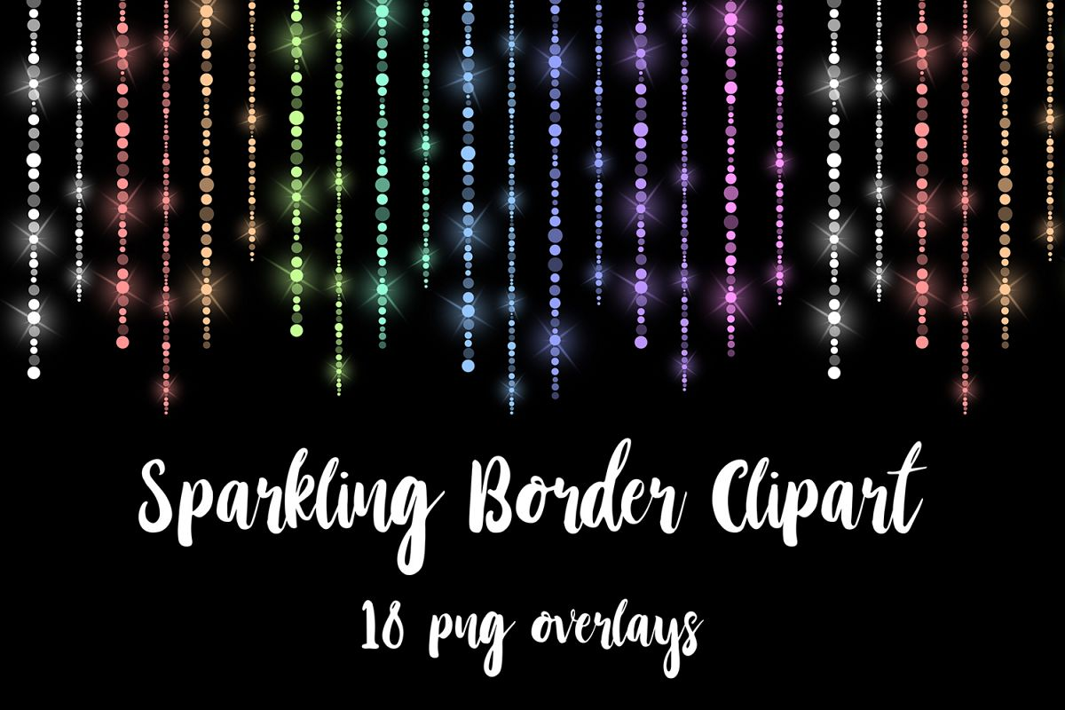 Fairy Lights Borders, Sparkle Rainbow Lines example image 1