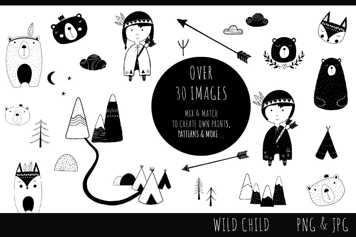 Wild Child Monochrome Set - clip art images, jpg, png example image 1