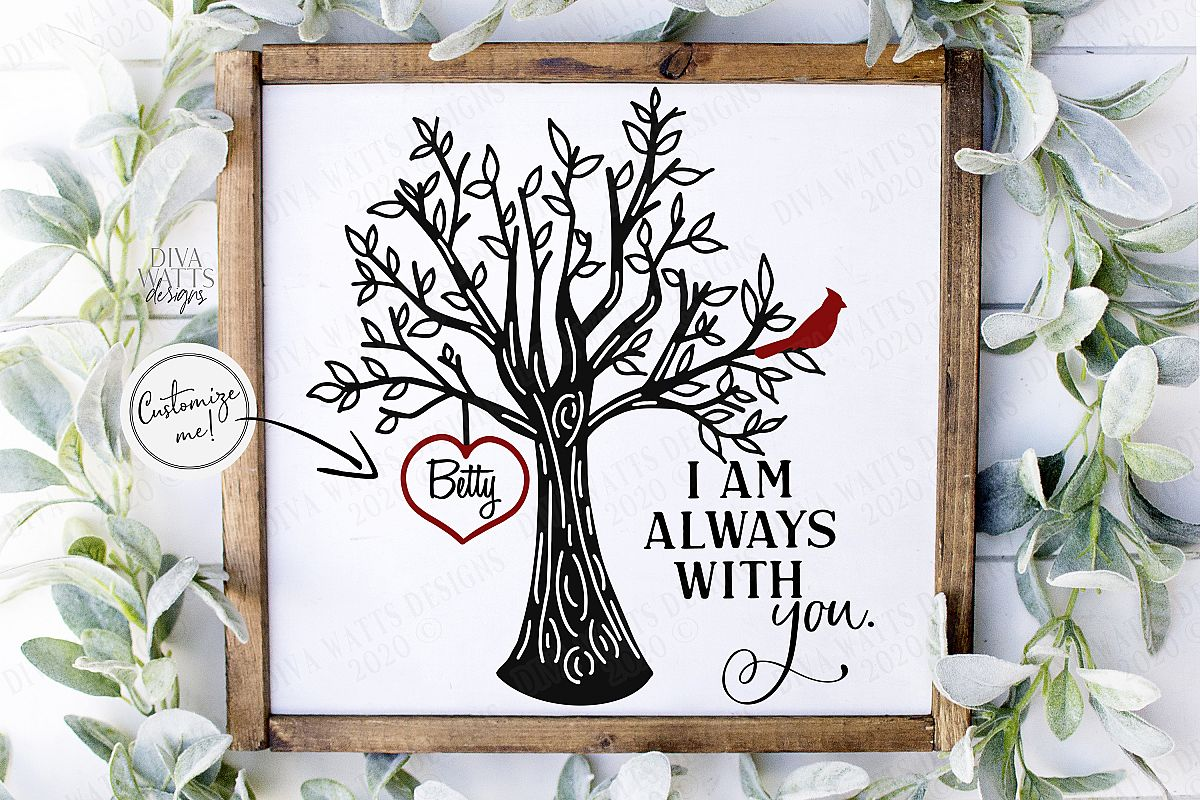 I Am Always With You - Red Cardinal Tree Heart - Customize example image 1