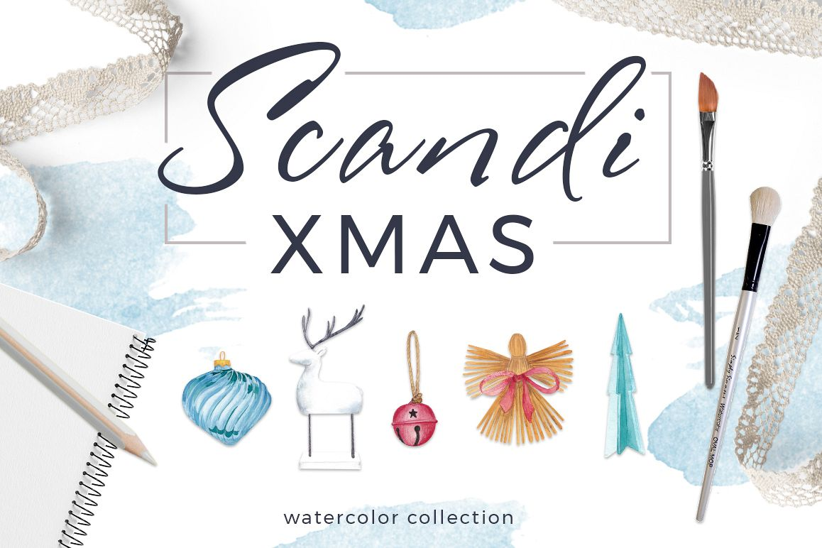 Scandi Xmas Watercolor Collection example image 1