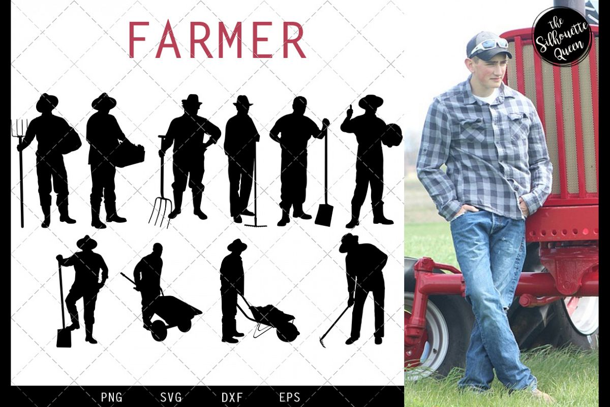 Farmer svg file, farm svg cut file, silhouette studio example image 1