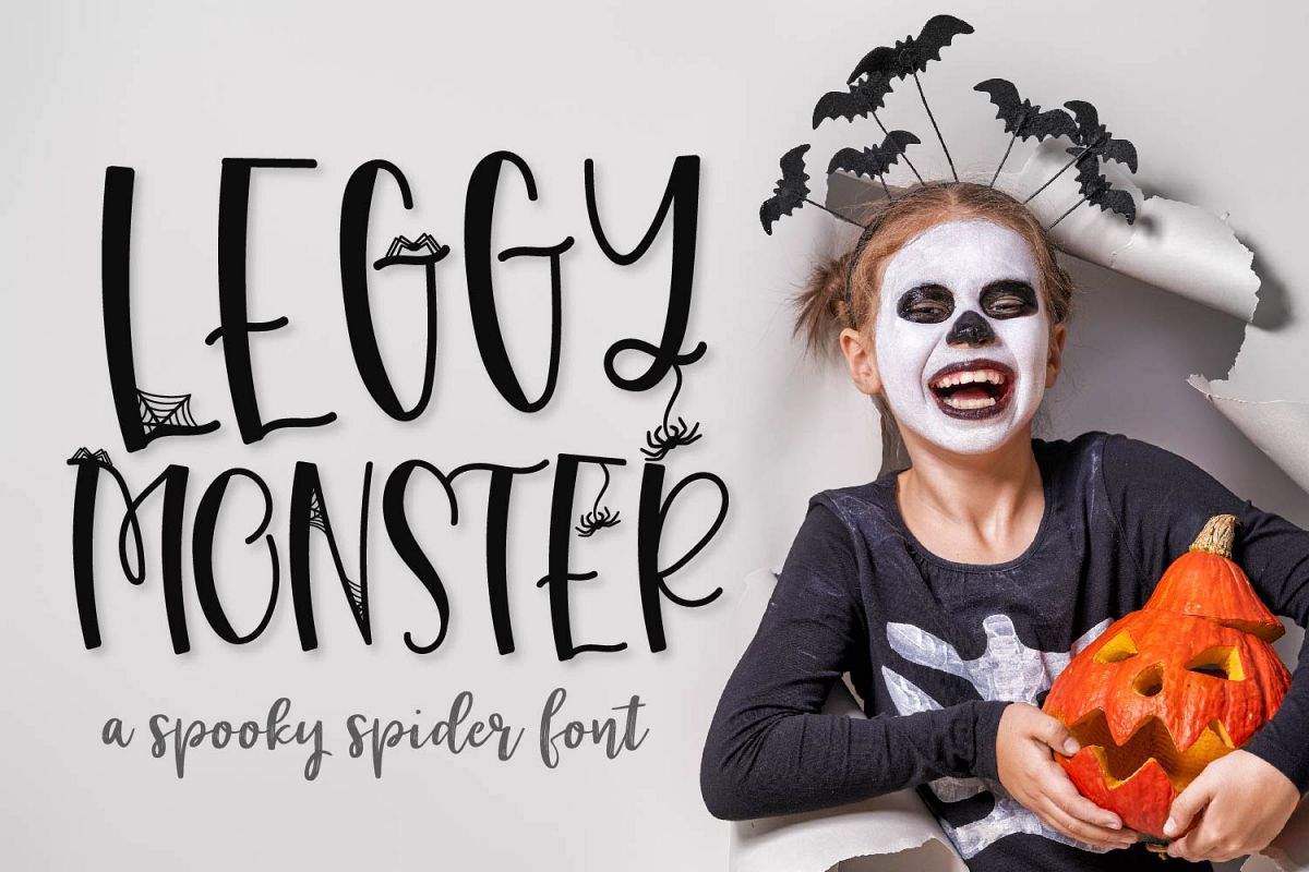 Leggy Monster - A Halloween Spider Font! example image 1