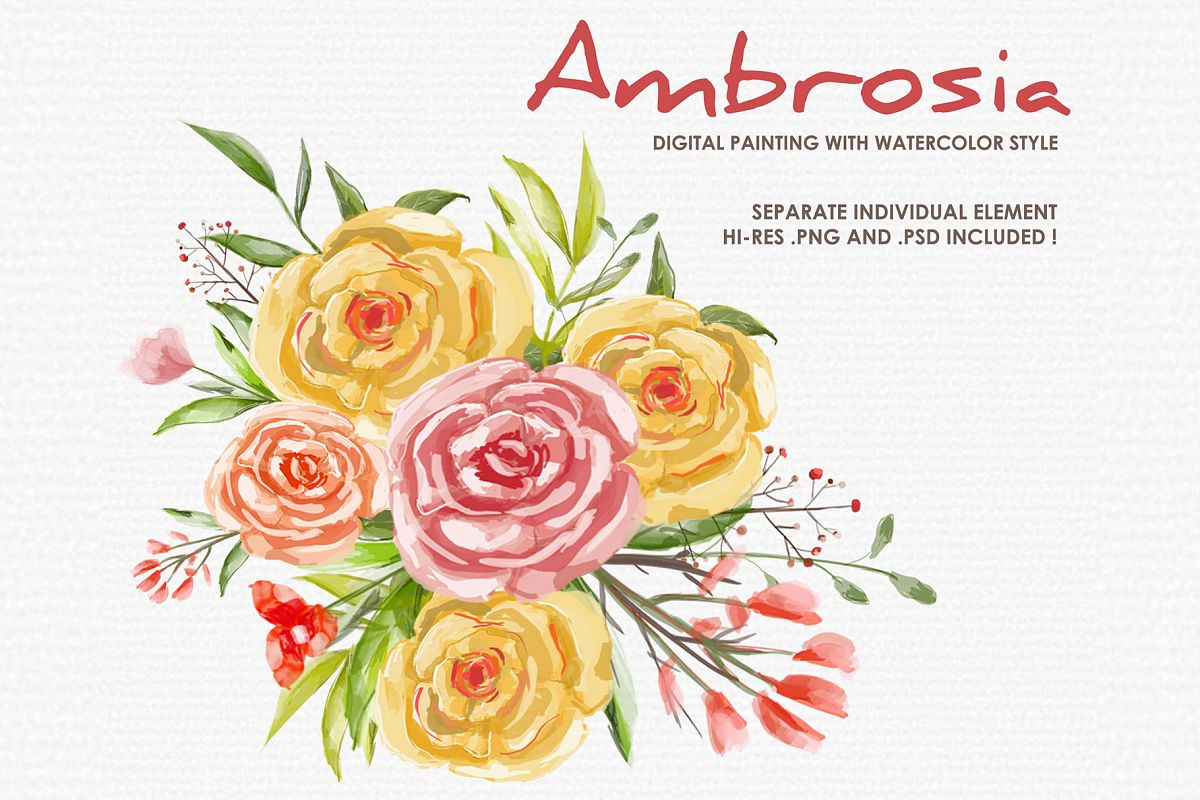 Ambrosia - Digital Watercolor Floral Flower Style Clipart example image 1