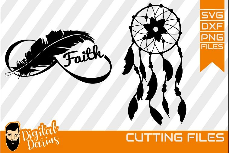 2x Faith Feather Svg, Feather svg, Digital, Dreamcatcher svg example image 1