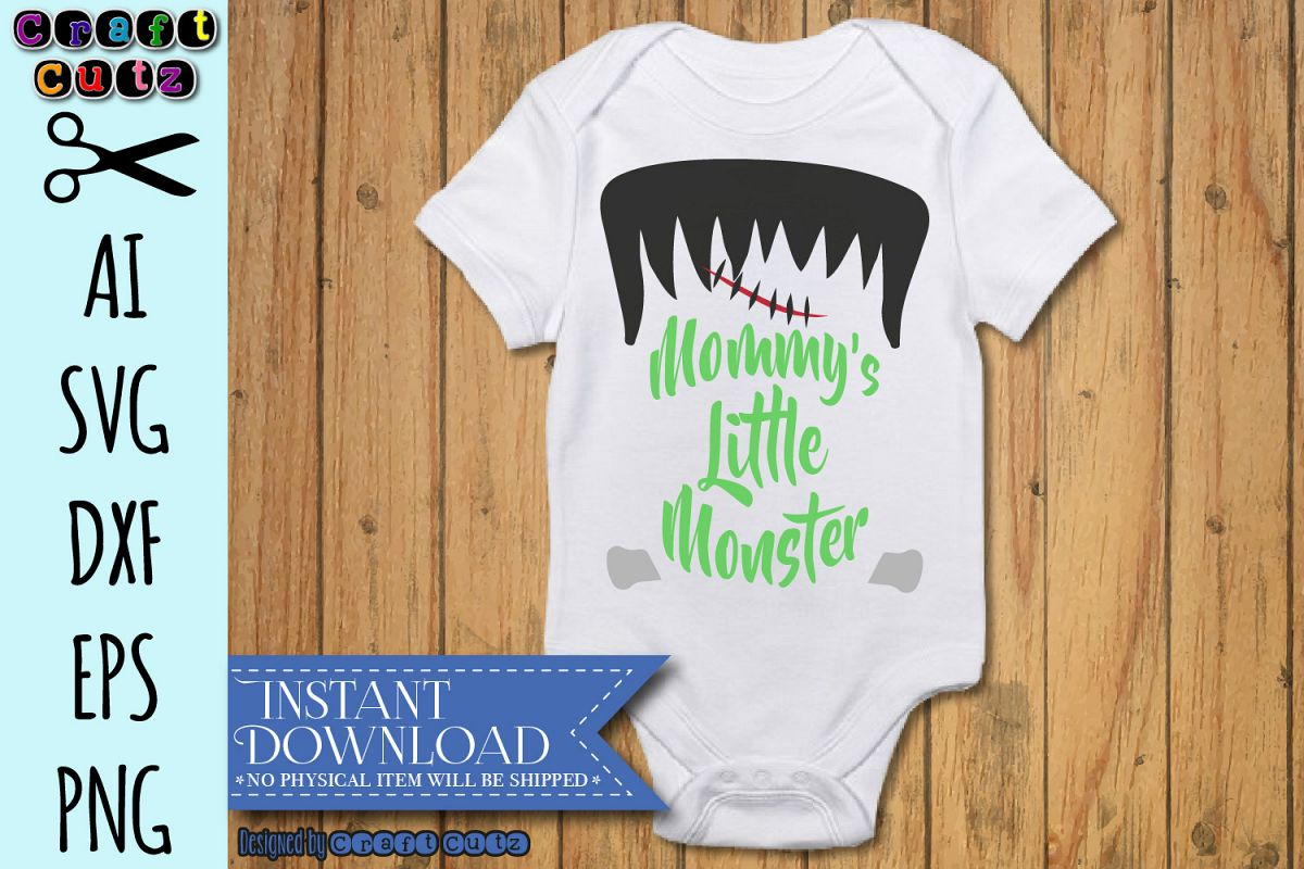 Mommy's Little Monster SVG, Frankenstein Cut File example image 1