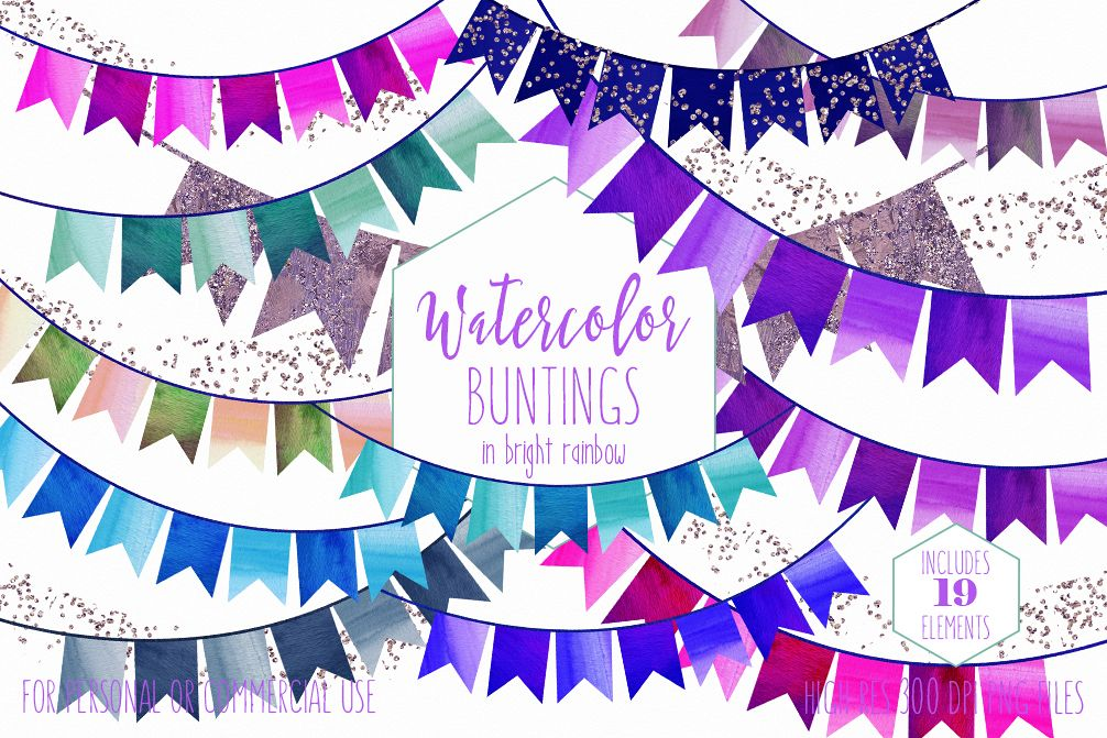 RAINBOW BUNTING BANNER Clipart Watercolor Double Tail Buntings Glitter Confetti Birthday Party Invitation Graphics Example