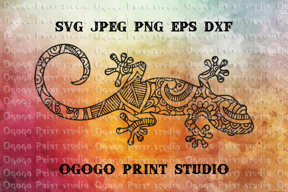 Mandala style Lizard SVG, Zentangle SVG, Salamander svg example image 1