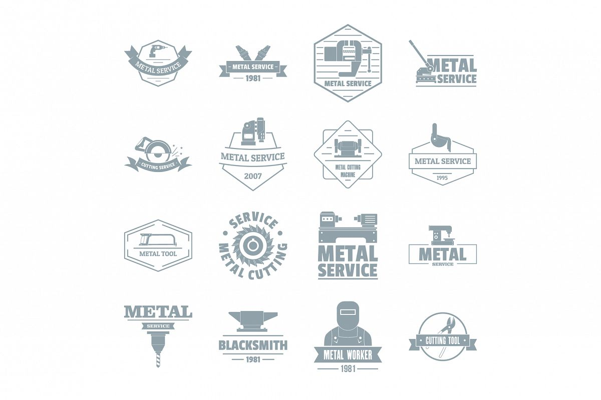 Metal working logo icons set, simple style example image 1
