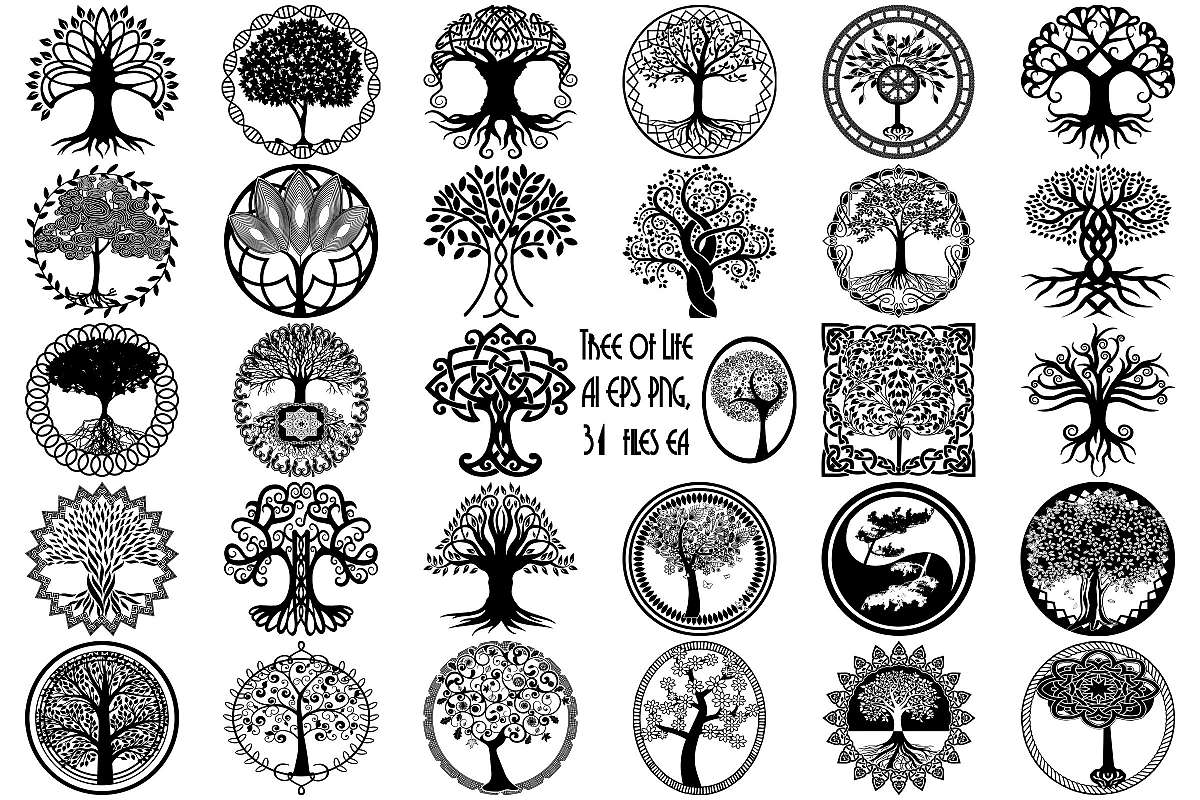 Tree of Life Silhouettes AI EPS Vector & PNG example image 1