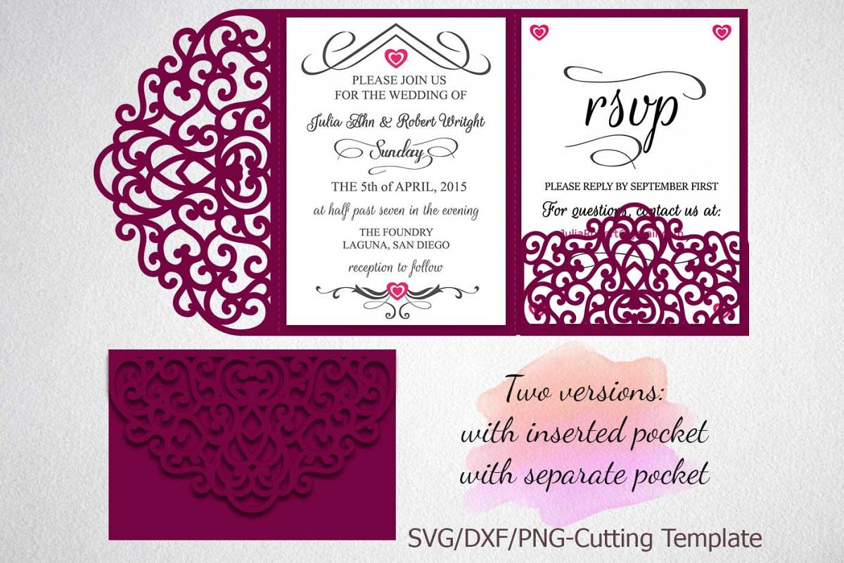 Fold Wedding Invitations: Tri Fold Wedding Invitation Pocket Envelope SVG DXF Template