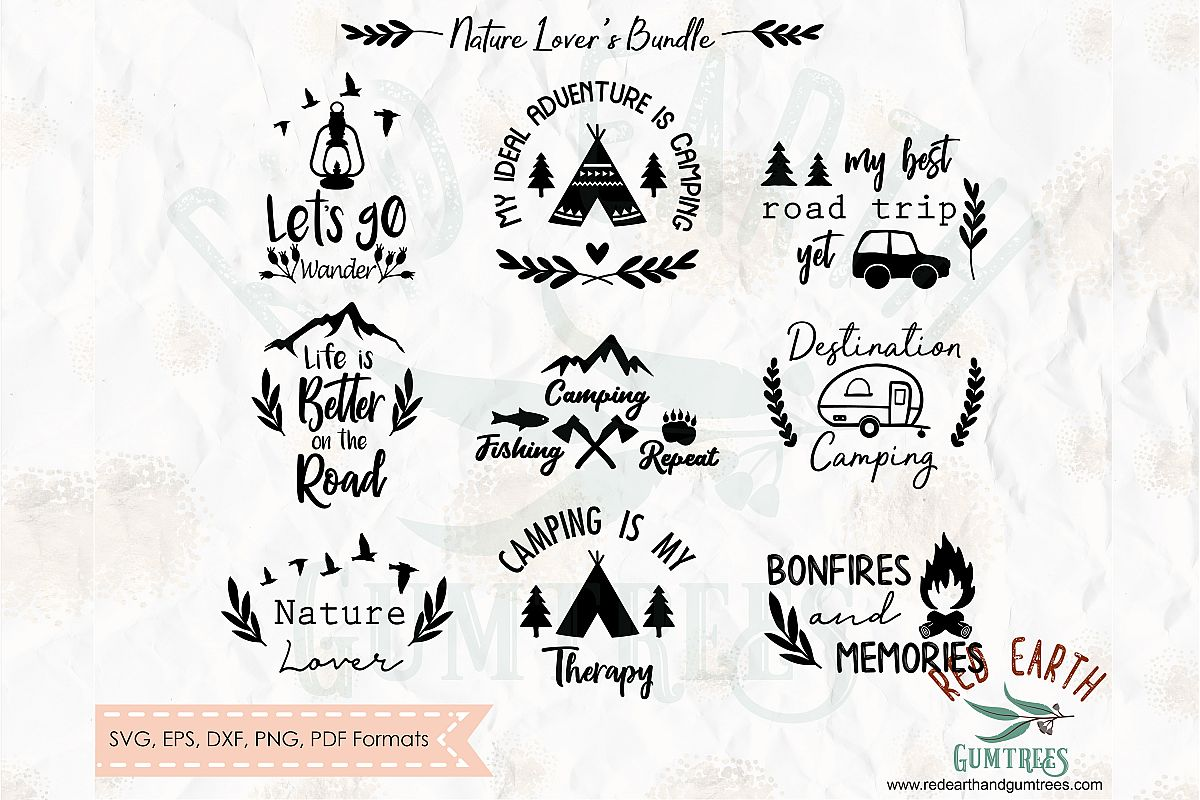 Natures lover bundle, camping in SVG,DXF,PNG,EPS, PDF format example image 1