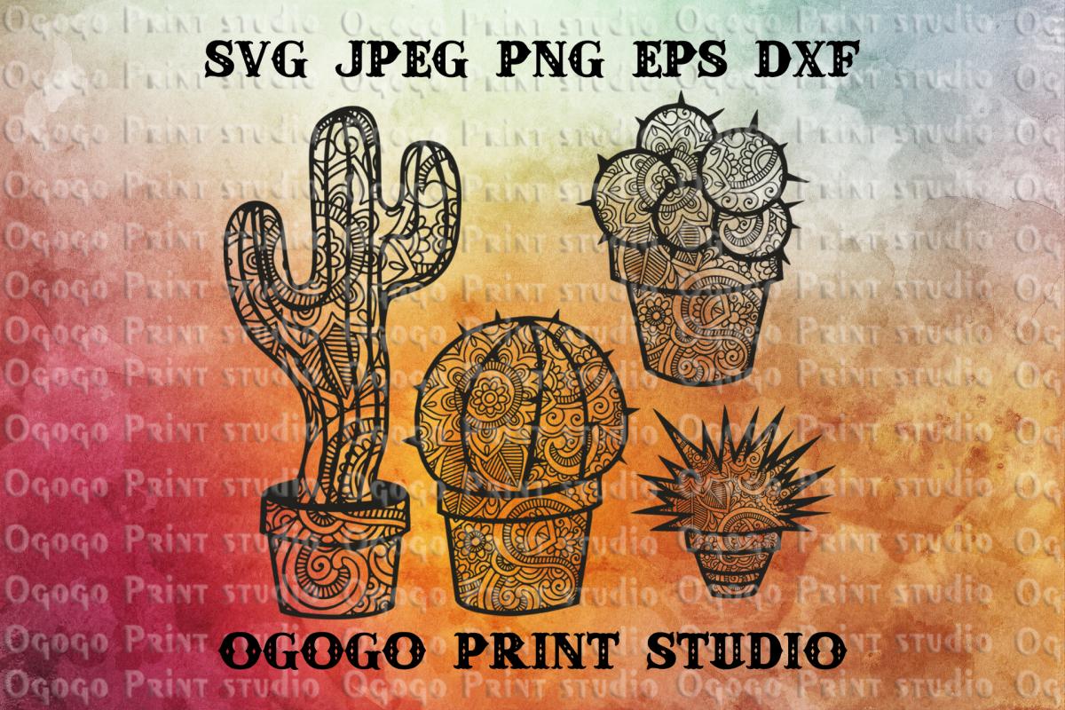Cactus SVG, Mandala Svg, Zentangle SVG, Succulent svg example image 1