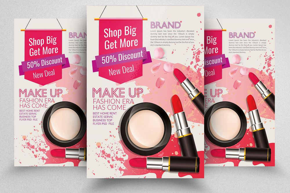 Make Up Cosmetic Discount Flyer