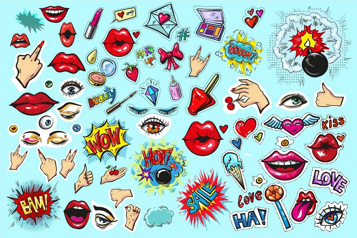 Fashion vector pop art patch badges / stickers example image 1
