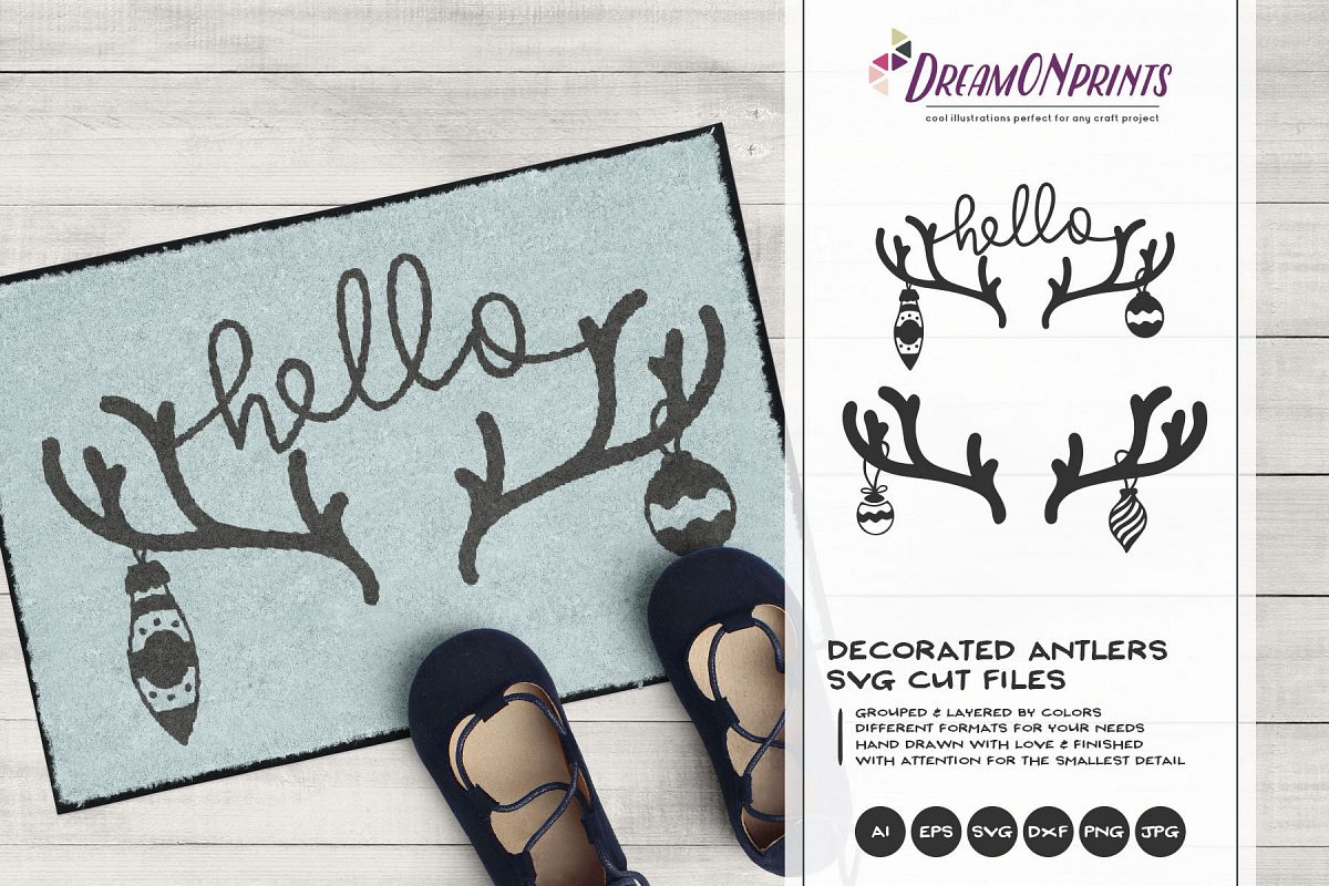 Decorated Antlers SVG   Christmas SVG   Deer SVG example image 1