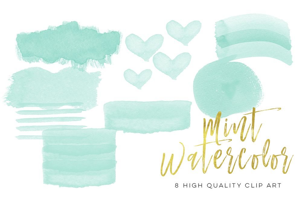 mint watercolor strokes, Green Mint Watercolor Strokes, Wall Art Print, Watercolor clipart strokes banners, Social media Splashes Clipart example image 1