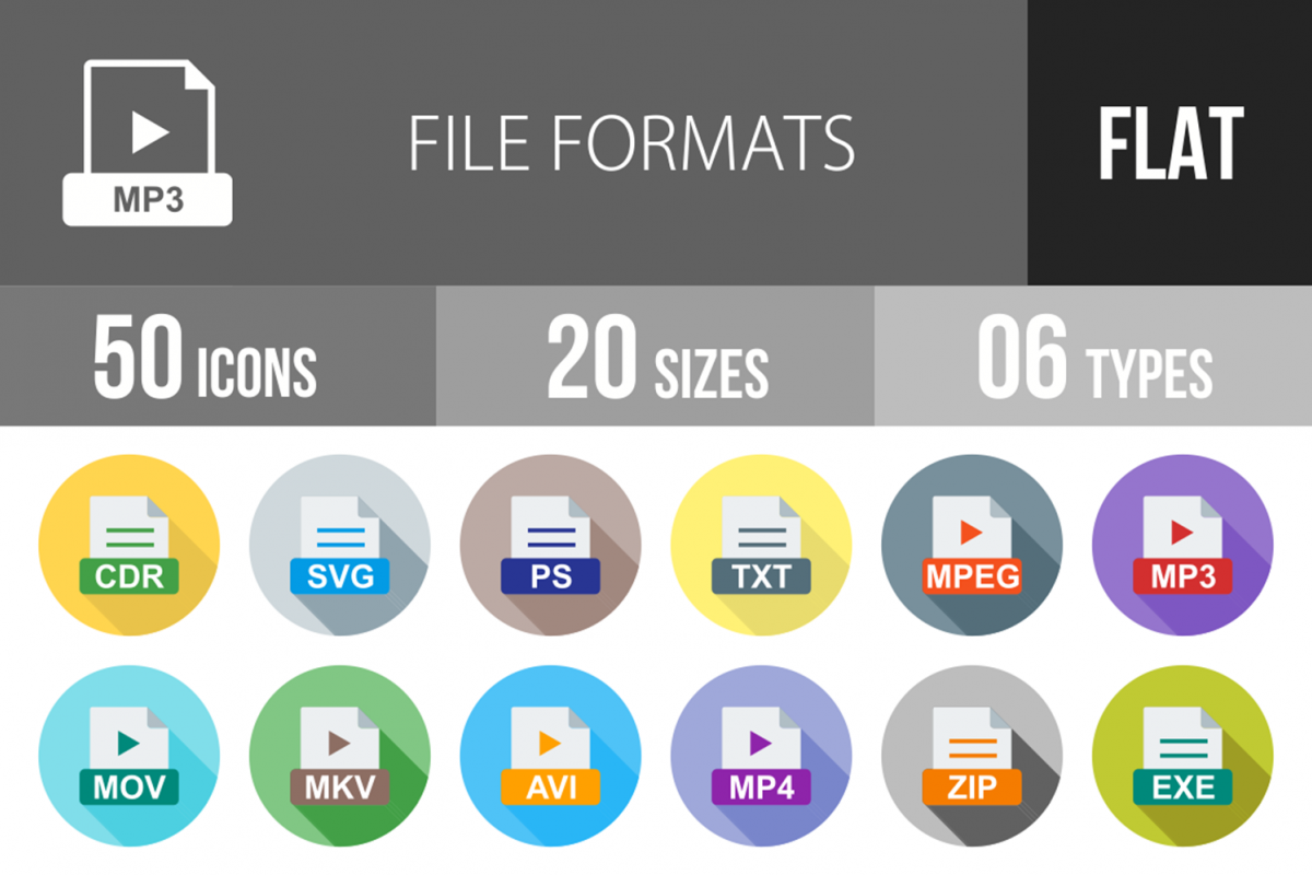 50 File Formats Flat Long Shadow Icons example image 1