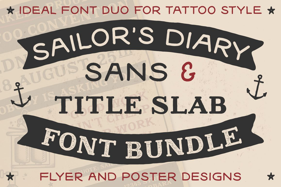 Sailors Diary Sans & Title Slab Tattoo Style Font example image 1