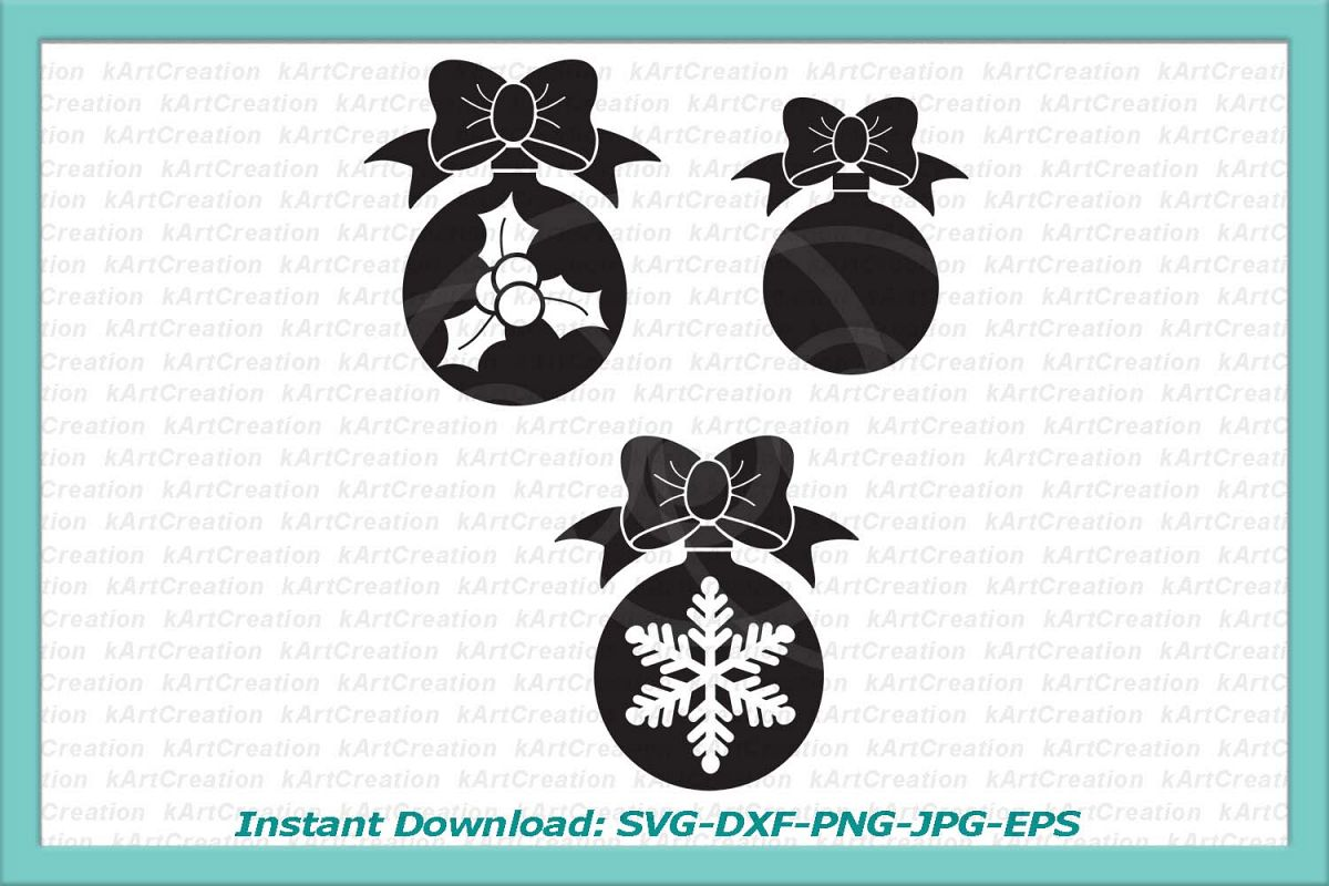 Christmas balls set with bow snowflake holly berry patterned example image 1