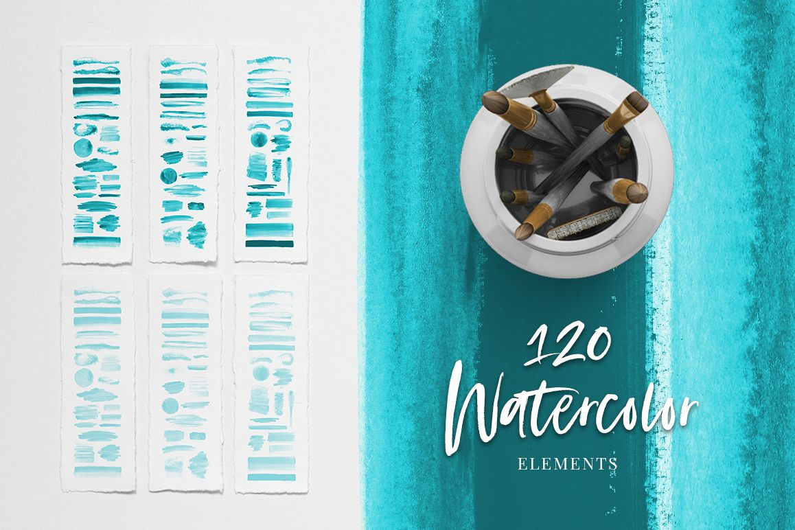 120 Turquoise Blue Watercolor Texture Elements example image 1