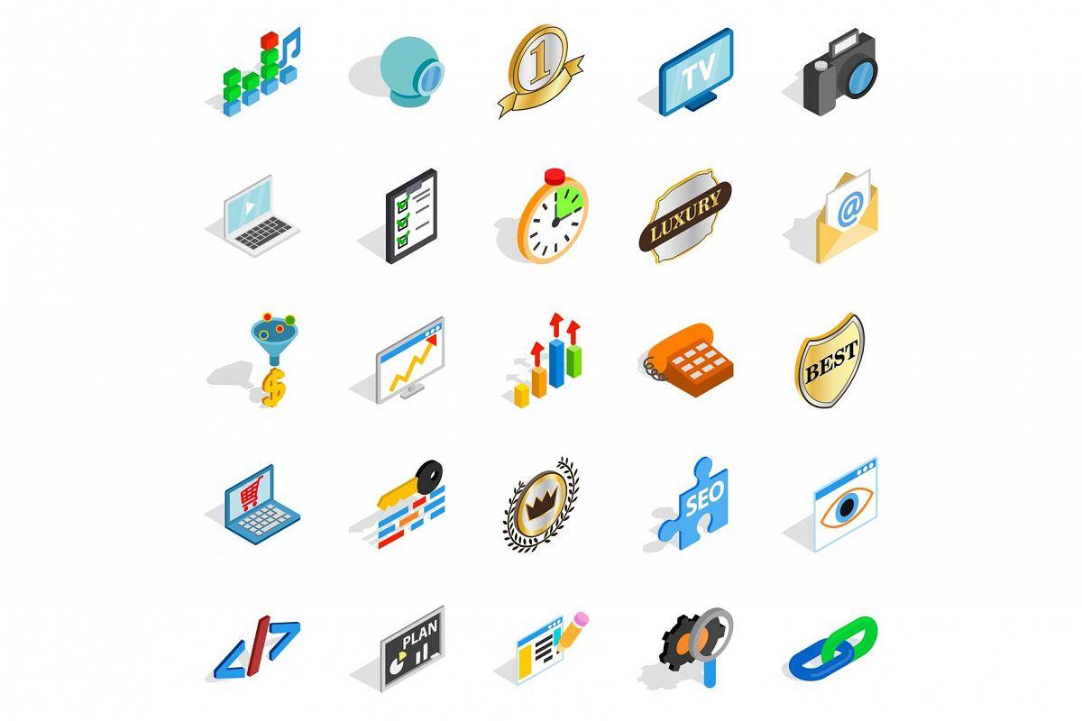 Call icons set, isometric style example image 1