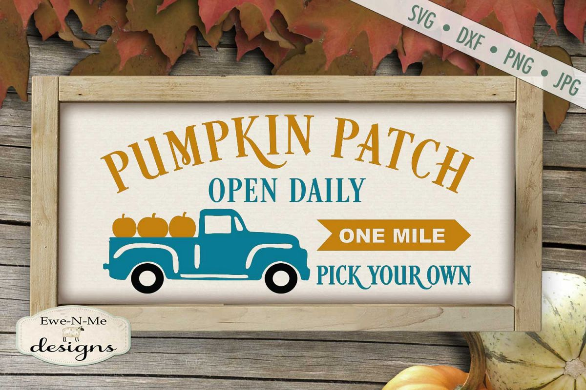 Pumpkin Patch - Truck - Fall - Autumn - SVG DXF example image 1
