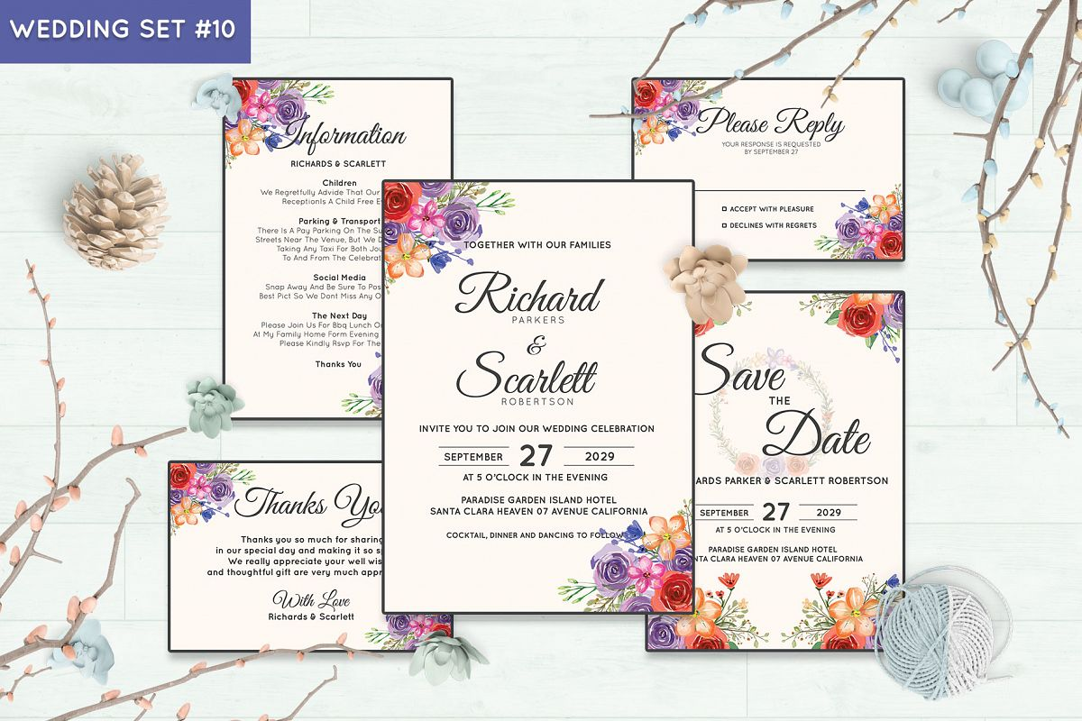 Wedding Invitation Set #10 Watercolor Floral Flower Style example image 1