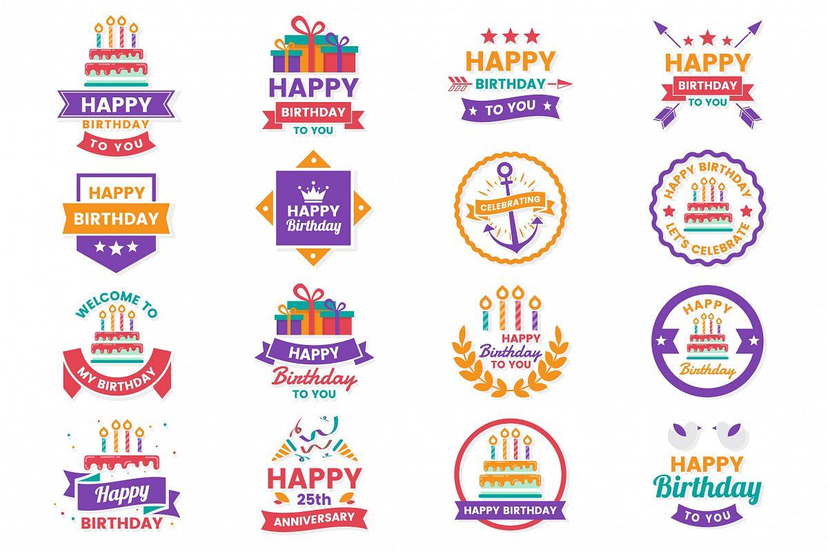 Happy Birthday Badge & Objects Vector Set example image 1