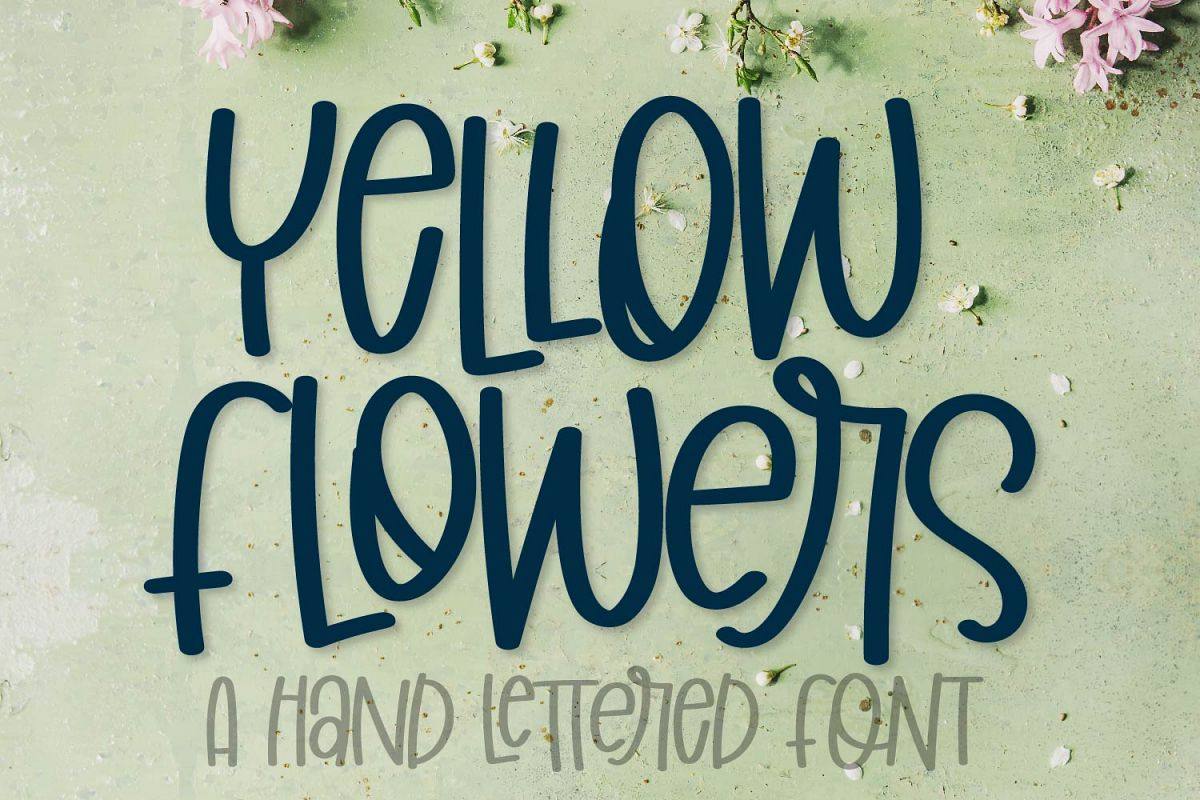 Yellow Flowers - A Hand Lettered Font example image 1